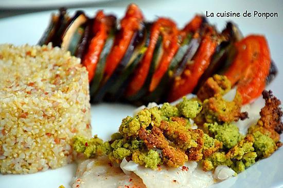 recette Cabillaud cuit à basse température recouvert d'un crumble à la coriandre
