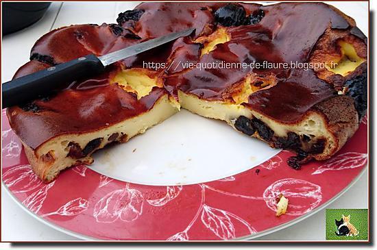 recette Flan aux pruneaux, raisins secs et cerises séchées
