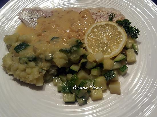 recette Filets de Sandre au beurre blanc, petits légumes et sa purée pdt-courgette