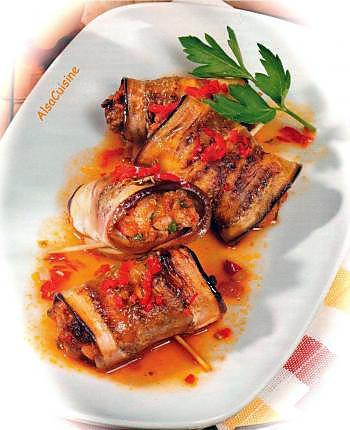 recette Rouleaux d'aubergines au boeuf haché