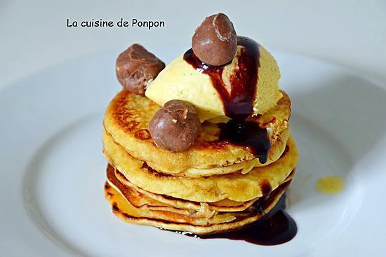 recette Pancakes en étages et chocolat