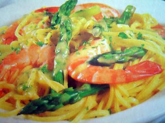 recette de spaghettis aux gambas et aux asperges
