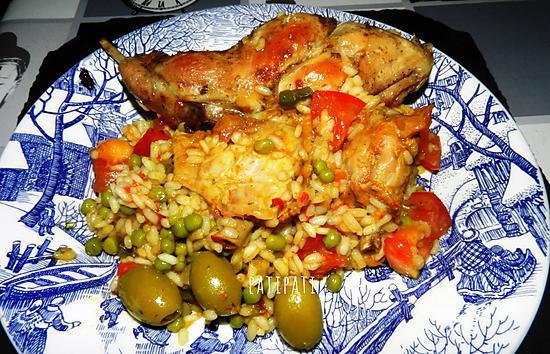 recette Cuisse de lapin accompagné de riz et légumes
