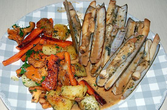 recette Poêlée de couteaux aux légumes du blog cccuisine.over-blog.com