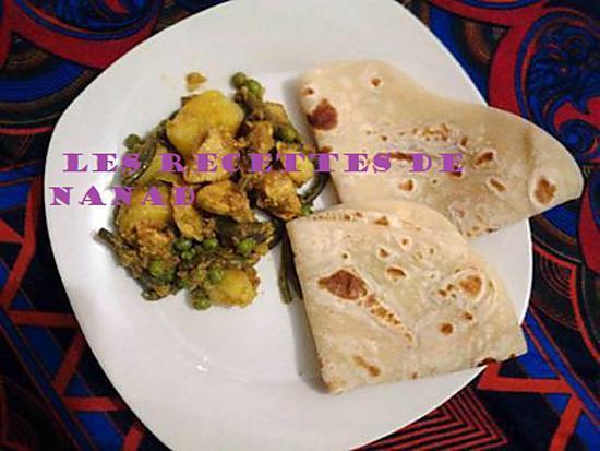 recette Curry poulet-haricots verts-petits pois-pomme de terre