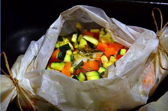 recette Papillote de filet de sabre aux petits légumes