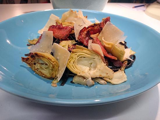 recette Linguini à la panceta et coeurs d'artichauts