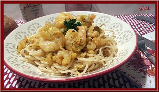 recette Spaghetti aux Crevettes, sauce crémeuse aux épices Cajun