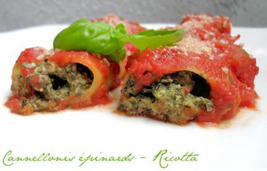 recette Cannellonis Ricotta & Epinards à la Sauce Tomate