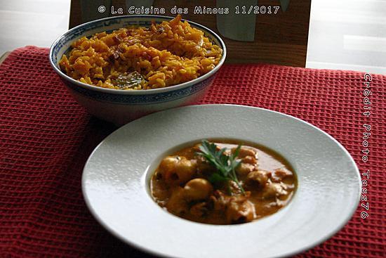 recette Petites Seiches en sauce au riz Safrané