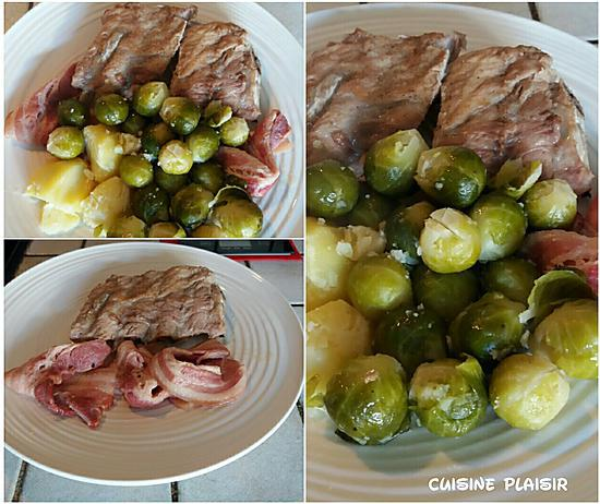 recette Spare ribs nature, lard, Pdt et choux de Bruxelles