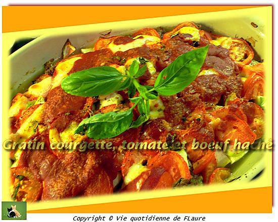 recette Gratin courgette, tomate et bœuf haché