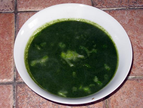 recette Soupe aux épinards et au cresson.
