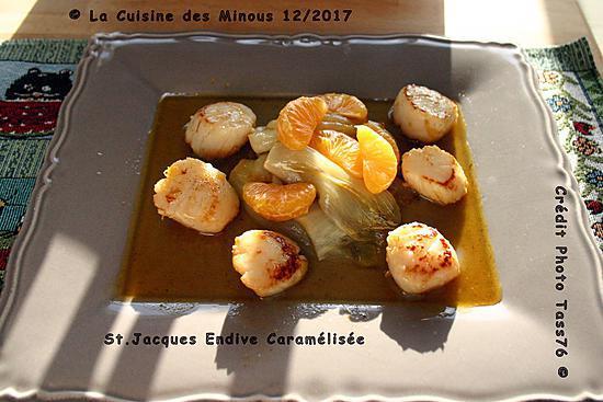 recette Noix de St. Jacques Endives Caramélisées au jus de Clémentine