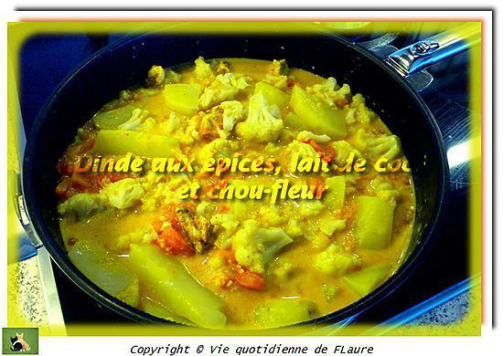 recette Dinde aux épices, lait de coco et chou-fleur