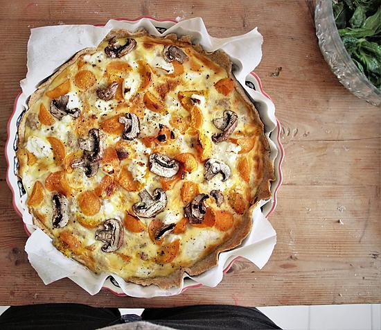 recette Quiche potimarron, champignons et thon