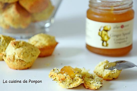 recette Scone aux graines de pavot parfumé au citron et garni de confiture de gingembre