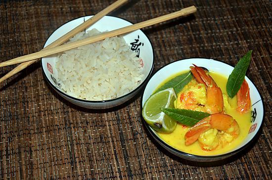 recette Crevettes à la citronnelle et au lait de coco
