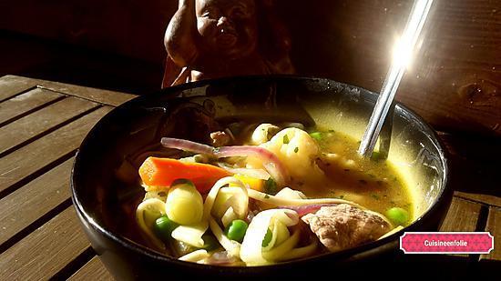 recette Bouillon thai au canard , patate douce et mille légumes