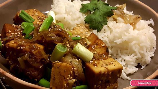 recette Tofu aux oignons caramélisés  ( à ma façon )