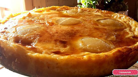 recette Gâteau façile  au lait concentré, poires sirop d'érable