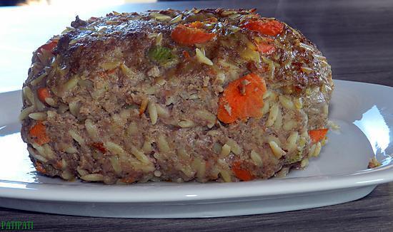 recette Pain de viande aux pâtes grecques et légumes