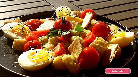 recette Gnocchis à la crème de roquefort, tomates crues et cuites, chips de pain