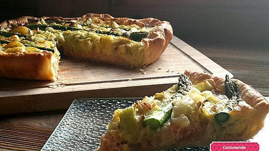 recette Quiche saumon, poireaux, asperges