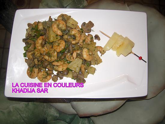 recette Crevettes sautées à l'ananas et aux champignons