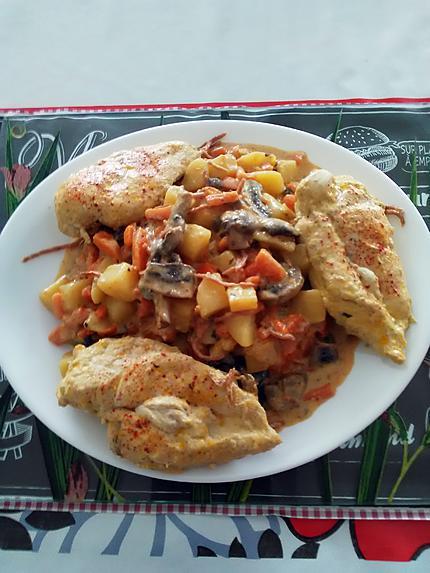 recette Suprêmes de poulet et petits légumes frais                             ...     ''   sauce  fromage  aux noix   ''