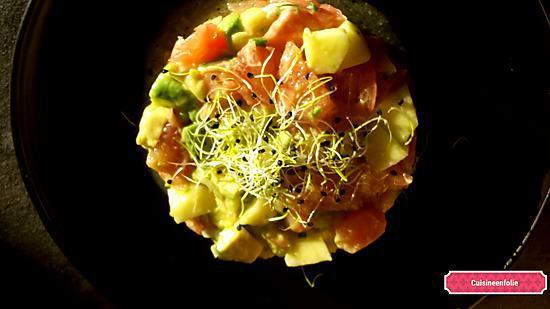recette Tartare de saumon avocat pamplemousse et pomme