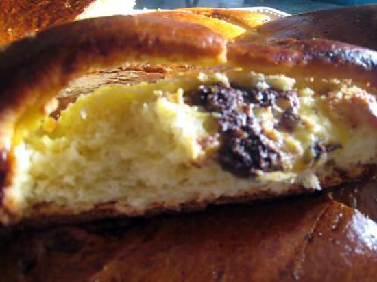 recette Brioche coeur creme patissiere fleur d oranger -pépites chocolat