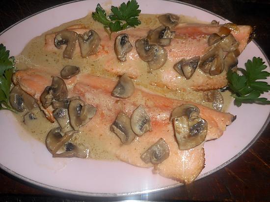 recette Filet de truite sauce creme aux champignons
