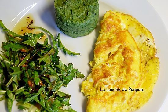 recette Salade de pissenlits, omelette et purée à la spiruline