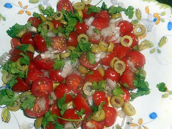 recette Salade de tomates cerises aux olives vertes