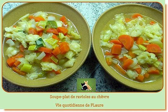 recette Soupe - plat de ravioles au chèvre