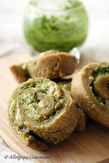 recette Mini-roulés au pesto d'ail des ours { sans gluten, sans oeufs option sans lait}