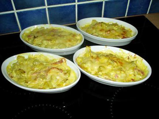 Recette de gratin d 39 endives au jambon et curry - Recette endives au jambon ...