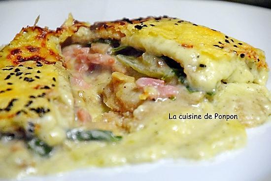 recette Galette gratinée aux champignons et lardons
