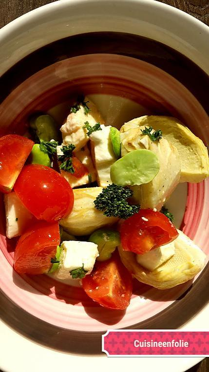 recette de salade d 39 artichauts f ves tomate mozzarella. Black Bedroom Furniture Sets. Home Design Ideas