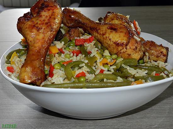 recette Riz brun et ses légumes aux pilons de poulet épicés