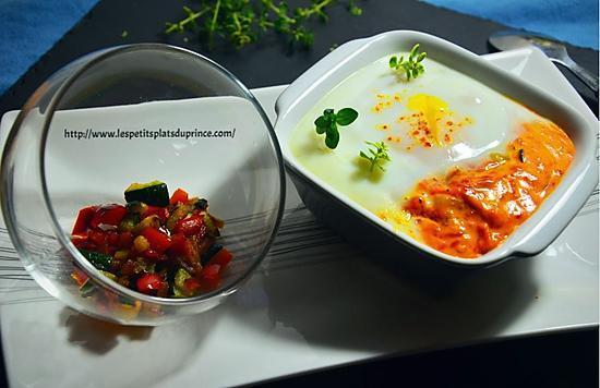 recette Oeuf cocotte au confit de poivron rouge