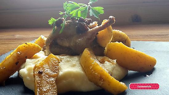 recette Caille au foie-gras pommes raisins flambée au calvados