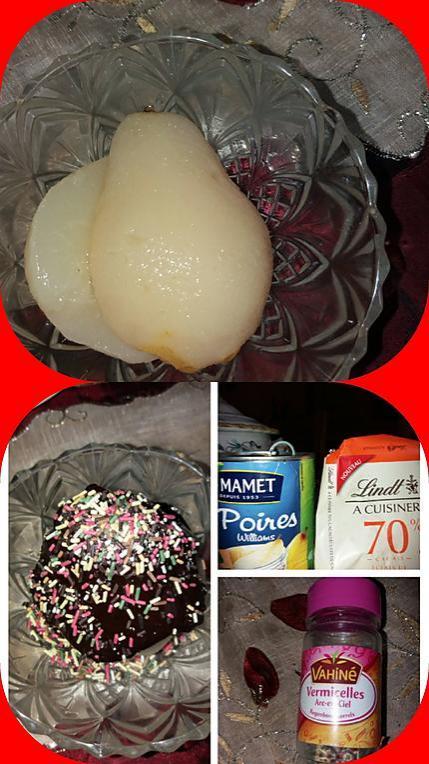 recette Poires au choco éclats de caramel