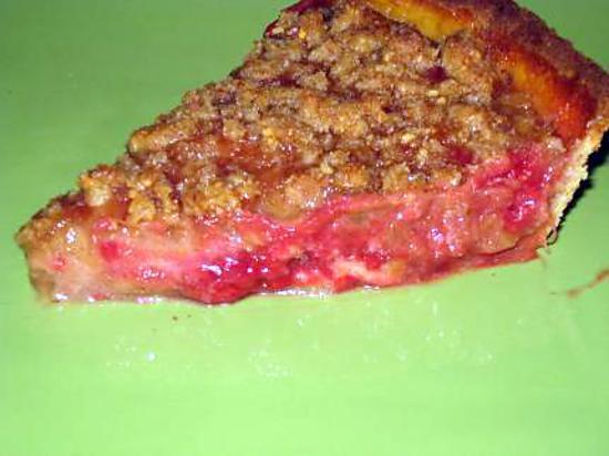 recette Tarte sablée rhubarbe-framboise avec son crumble au pralin