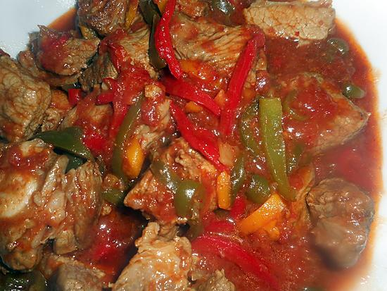 recette Sauté de veau aux poivrons