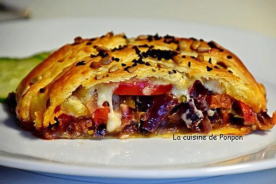 recette Feuilleté tressé oignon poivron et chorizo