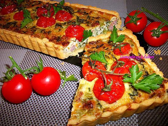 recette TARTE Salée brède moutarde (chou kale), Saucisse & tomates cerise grappe