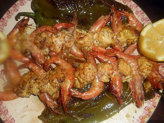 recette Brochettes de poulet et crevettes