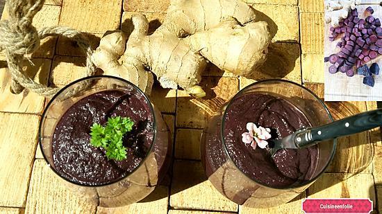 recette Mousse de carottes violettes au lait de coco et gingembre ( chaud ou froid )